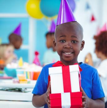 child celebrating birthday