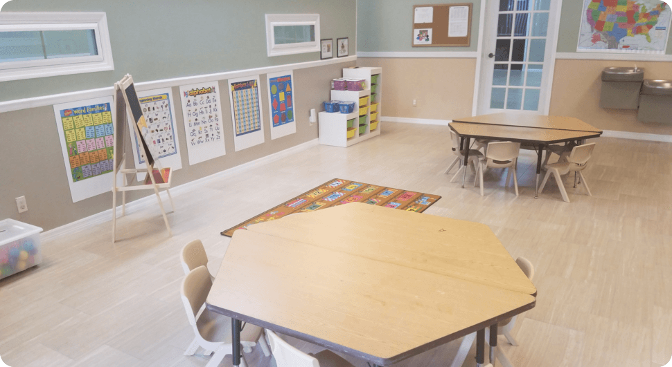 Nice class room with tables
