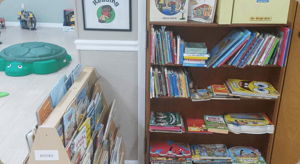 Many books in a bookshelf