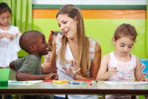 teacher talking to the child