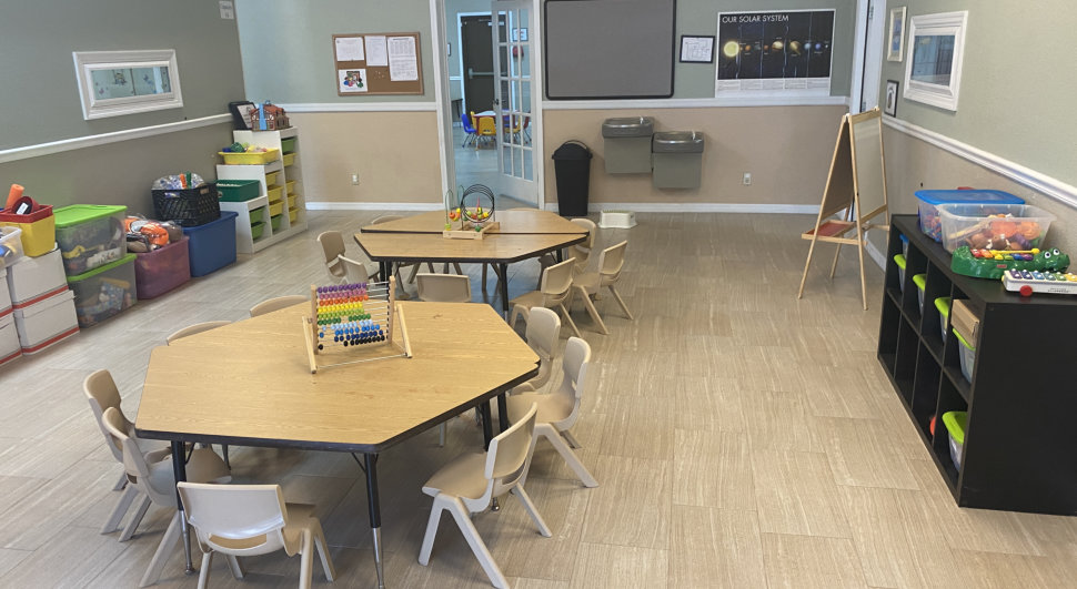 Tables inside a classroom